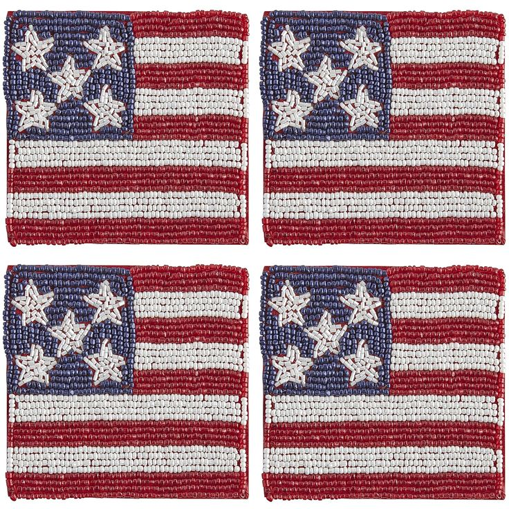 Multi Colored American Flag Beaded Coaster Set   Polyester