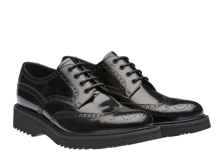 Prada men's black lux leather wingtip brogues shoes - Italian Boutique €364