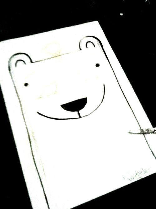 I just made a stencil for a Polarbear T-shirt! :) #shirt #design #handmade