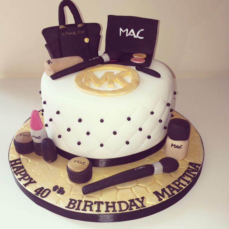 Michael Kors and mac make up themed 40th birthday cake for a lady #black #gold #Michaelkorsbagcake #macmakeupcaketopper #ladies40thbirtjdaycake #girlycake #coolcake #cakedecorating