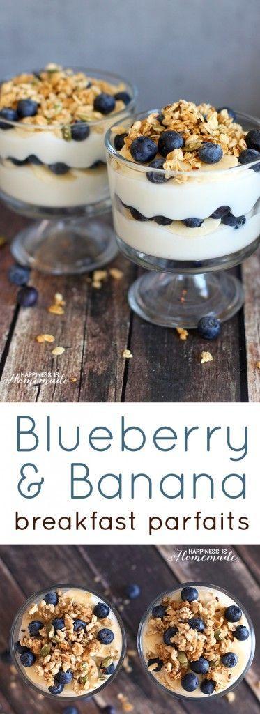 Bluberry Banana Yogurt Breakfast Parfait Recipe with #MountainHighYoghurt #ad
