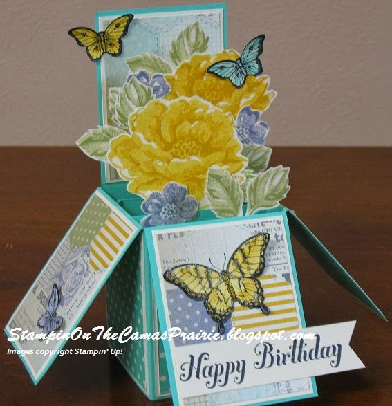 Stampin' on the Prairie: Card in a Box, Stippled Blossoms stamp set, Papillon Potpourri stamp set, Afternoon Picnic dsp, Stampin' Up!
