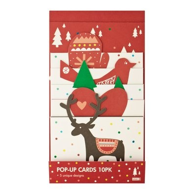 Christmas Pop Up Card 10pk $14.95 - Bring your Christmas message to life with these fun and stylish Christmas Pop Up Cards. These gorgeous 3D designs are guaranteed to share the happiness around.