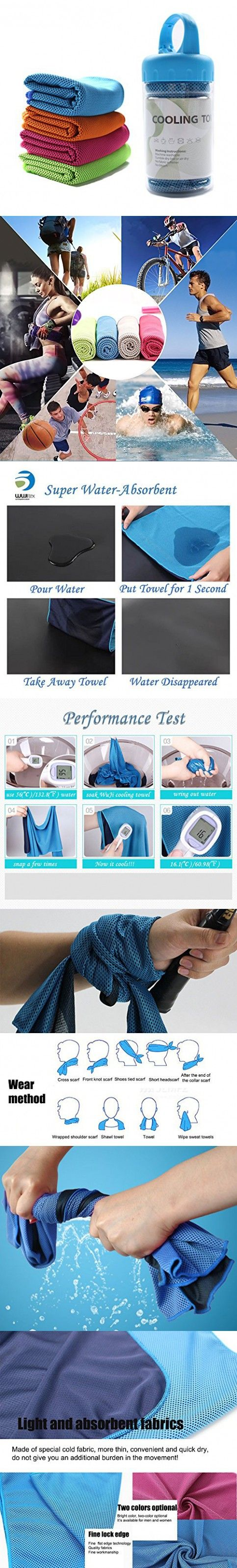 """Cooling Towel WuJi Microfiber Towels for Instant Relief Sports Towel Headwear for Golf Swimming Football Workout Gym 40""""x12"""" Travel Towel for Sweat-Blue"""