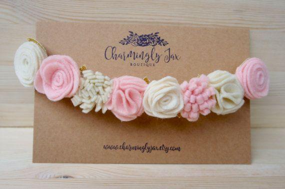 Luz rosa y marfil fieltro Flores corona, diadema de fieltro, flores fieltros…