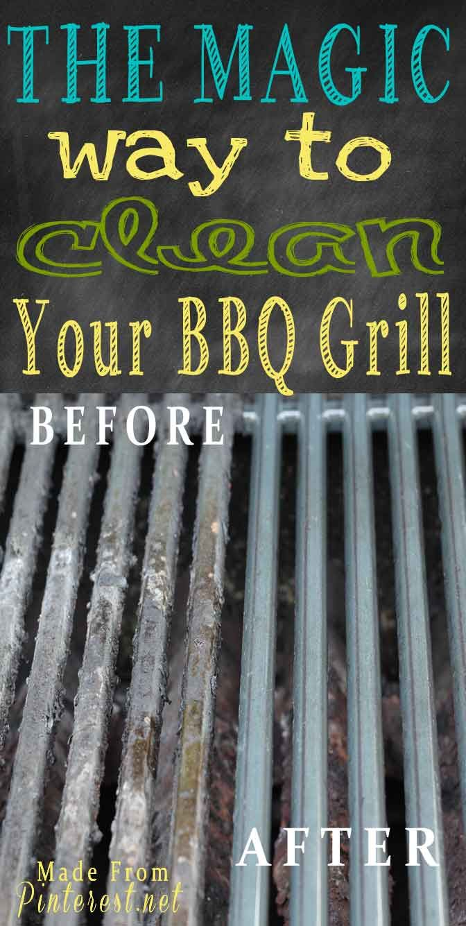Clean BBQ Grills - Guess what? You can clean your BBQ grills WITHOUT SCRUBBING! Follow the overnight cleaning method, the next morning hose off your BBQ grills and you are done! Now you are ready to paartaay! @Madefrompinterest.net