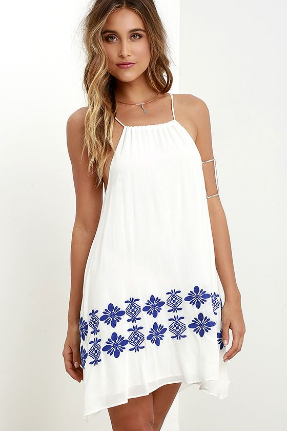 Joyous Occasion Blue and Ivory Embroidered Dress at Lulus.com!