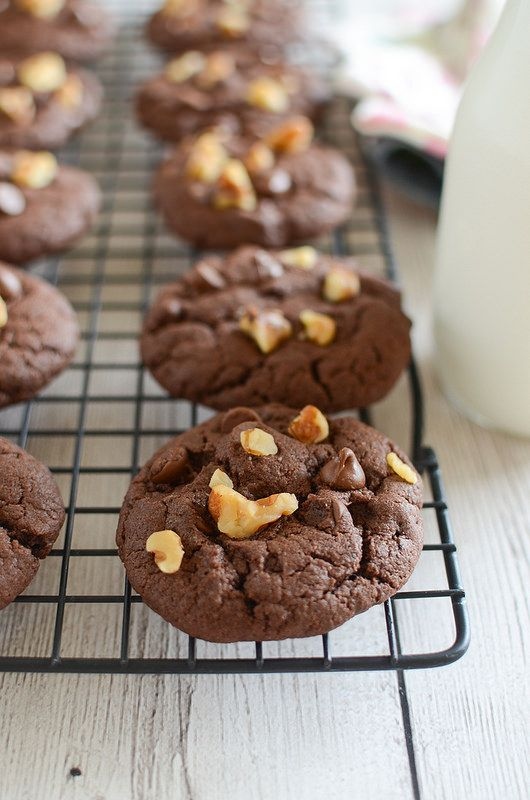 Cake Mix Fudge Cookies - just mix chocolate cake mix with eggs and oil for delicious cookies! Mix in chocolate chips and walnuts for cookies that remind you of classic fudge! These are so easy!