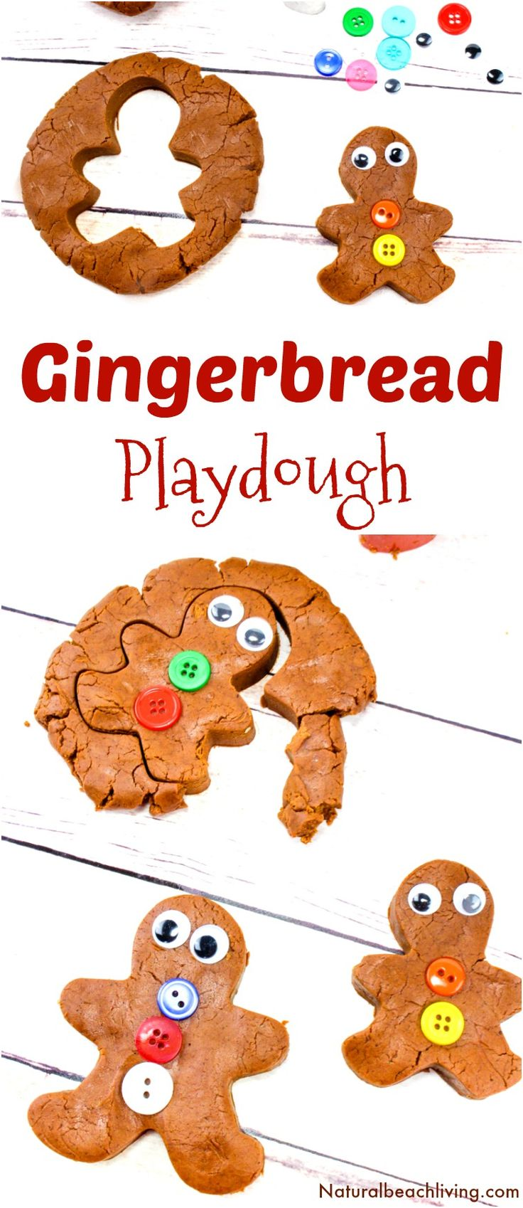 The Best Gingerbread Playdough Recipe, No-Cook Playdough, Gingerbread Playdough No Cream of Tartar, Homemade Playdough without cream of tartar, Scented Playdough, Edible Playdough recipe, Gingerbread Man Playdough, Winter Sensory Play #playdough #homemade