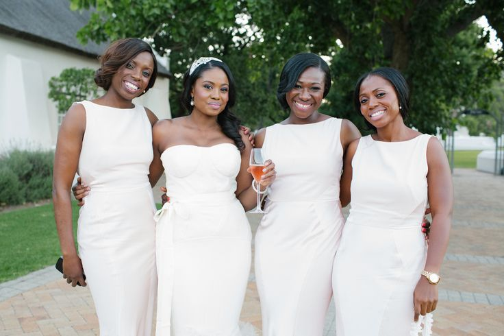 Modern bridesmaids. Stylish bridesmaids. White bridesmaid dresses. Nigerian wedding. Image by Tasha Seccombe