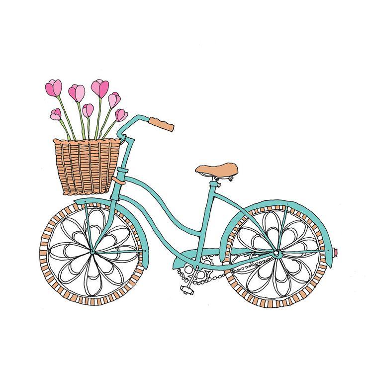 Tulip Bike - Easter or Spring Card. $3.00, via Etsy.
