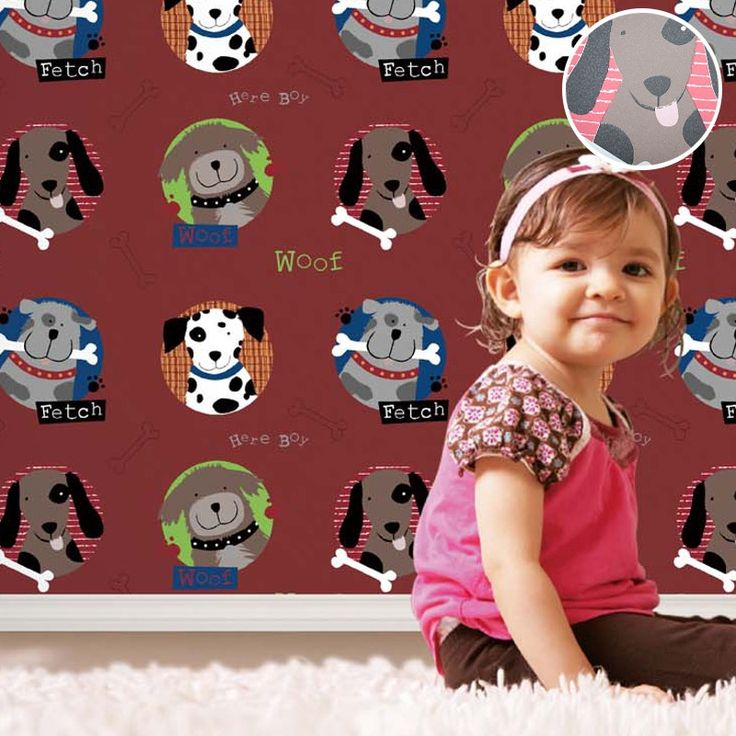 42.00$  Buy here - http://aliiek.shopchina.info/go.php?t=32664410125 - Best Modern Cool Cartoon Dog Texture Kids Wallpaper Vinyl Animal Print Children Wall Paper Wall Covering Red 42.00$ #aliexpressideas