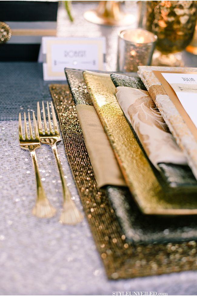 @Brilliant Event Design - Wedding Planner layered Z Gallerie's Beaded Placemat with gold and silver Luxe dinnerware pieces to create a glistening tablescape for this Gatsby-inspired wedding. Photography by Amore Wedding Photography #ZGallerie