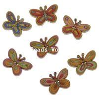 100 Ks Nature Smíšené motýl vzor dřeva Šicí Tlačítka Scrapbooking Oblečení dekorace šperky DIY 25x17mm (W04821 X 1)