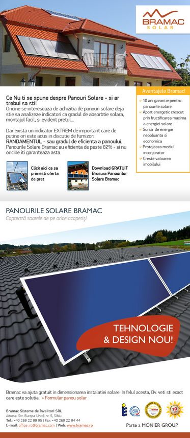 BRAMAC SOLAR: Panouri solare Bramac - pentru pregatire apa calda si aport la incalzire