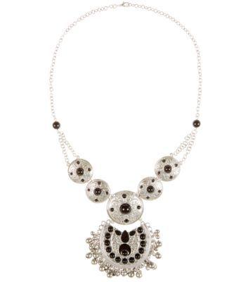 Silver Black Stone Necklace