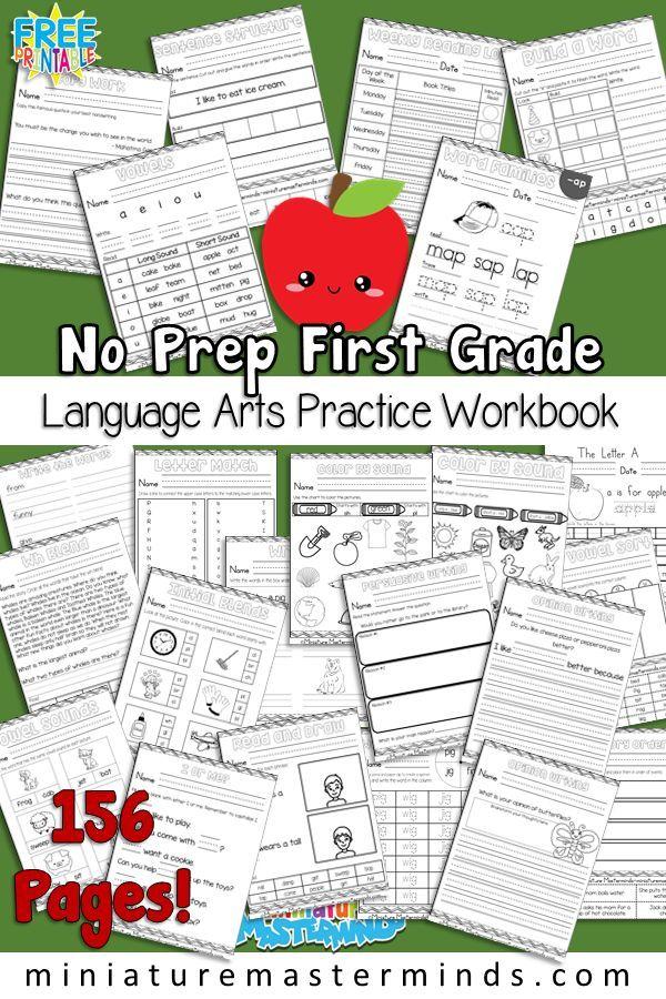 First Grade Language Arts Practice No Prep Worksheet Workbook 150+ Page Free Printable