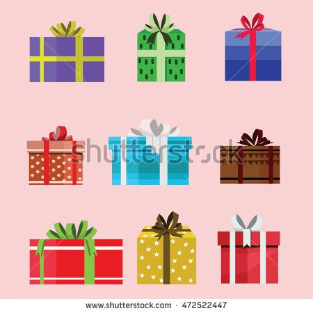 gift box birthday set present with different pattern. vector illustration 115