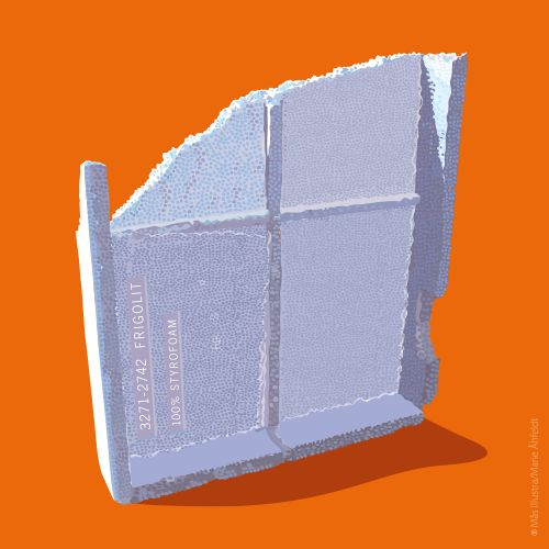 Återvinning av frigolit / Recyckling styrofoam SSSB – illustration by Mås illustra
