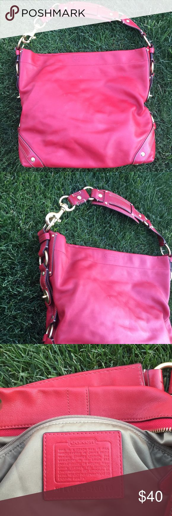 Large Red Leather Coach Hobo Bag with Gold accents Authentic 💯 Gorgeous thick red authentic leather hobo bag. Large sized with some faint markings on leather (pictured). Serial number pictured also. Coach Bags Hobos