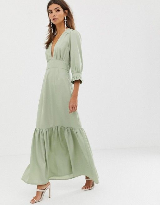 5724267ccf05b DESIGN plunge tea maxi dress with pep hem in 2019 | Actually Buy ...