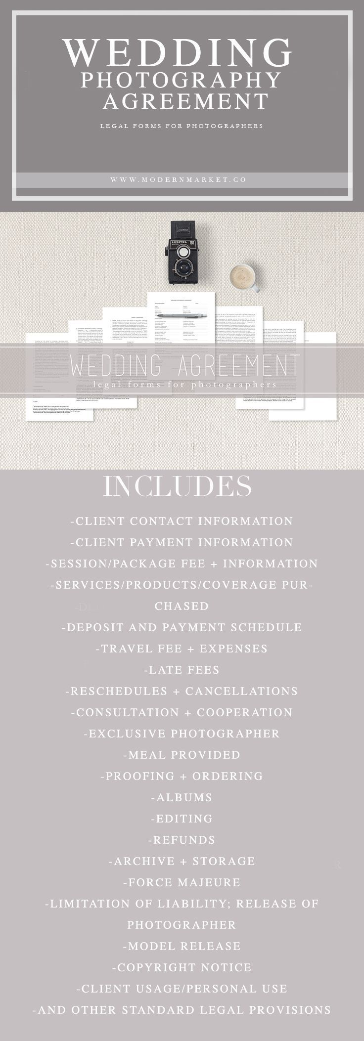 WEDDING PHOTOGRAPHERS - If you shoot weddings you need this! A easy to understand, simple to customize wedding contract. View our whole line of legal forms for photographers. #weddingphotography