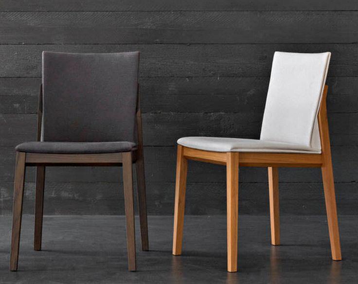 silla de comedor, estilizada, base de madera, detalle lateral