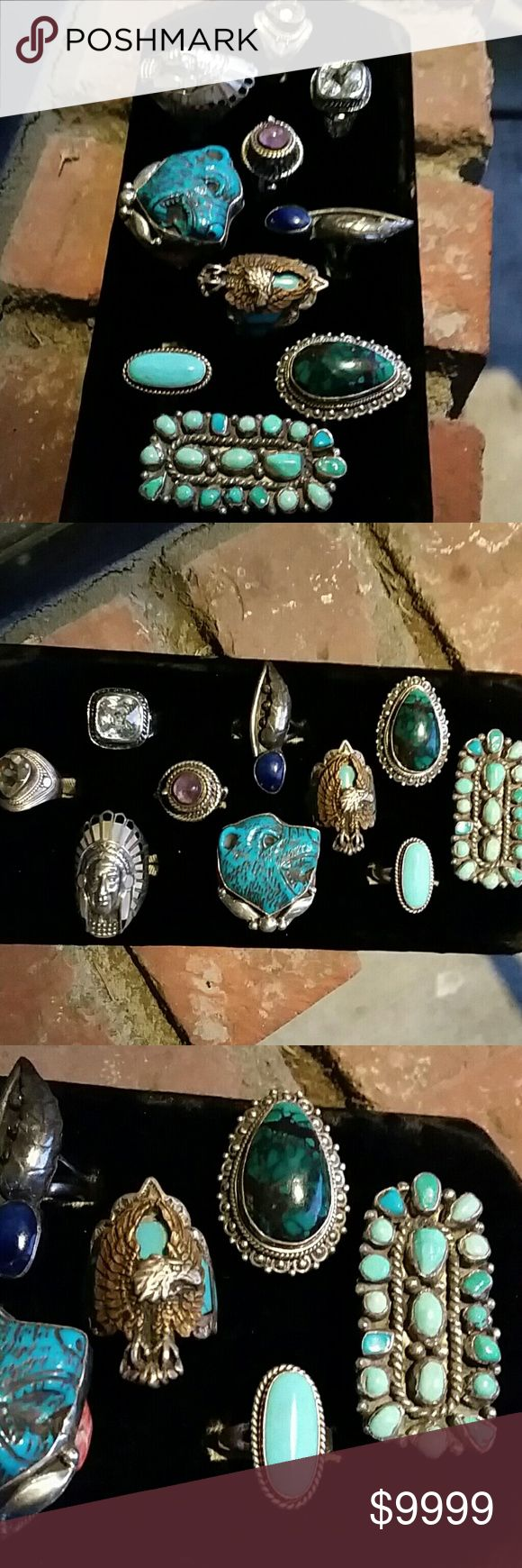 Sterling Silver Rings Turquoise Quartz Lapis This is an up-to-date photo of more rings that I have in stock individual pricing will be coming soon or more than likely it's already listed separately in my closet. Please ask me if you have any questions Vintage Jewelry Rings