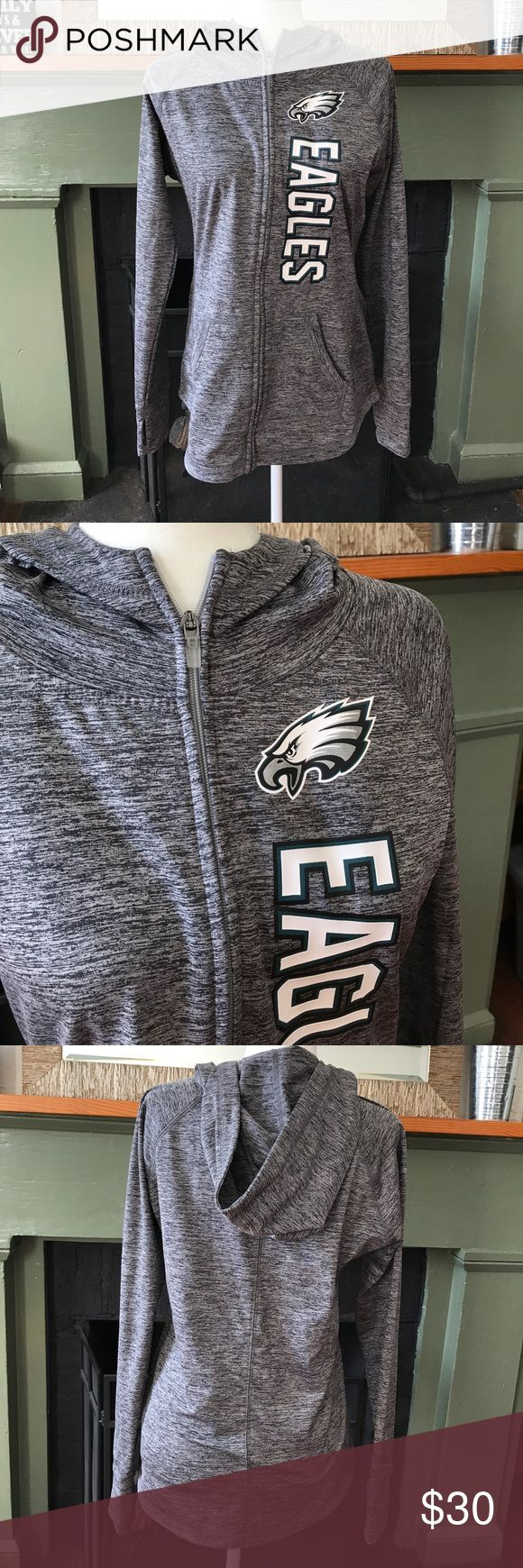 Philadelphia Eagles Fleece lined hooded jacket Marled gray with the Eagles name and logo.  Full zip, thumbholes, hood, fleece lined, excellent condition.  NFL Team apparel, size Women's Medium. NFL Team Apparel Jackets & Coats