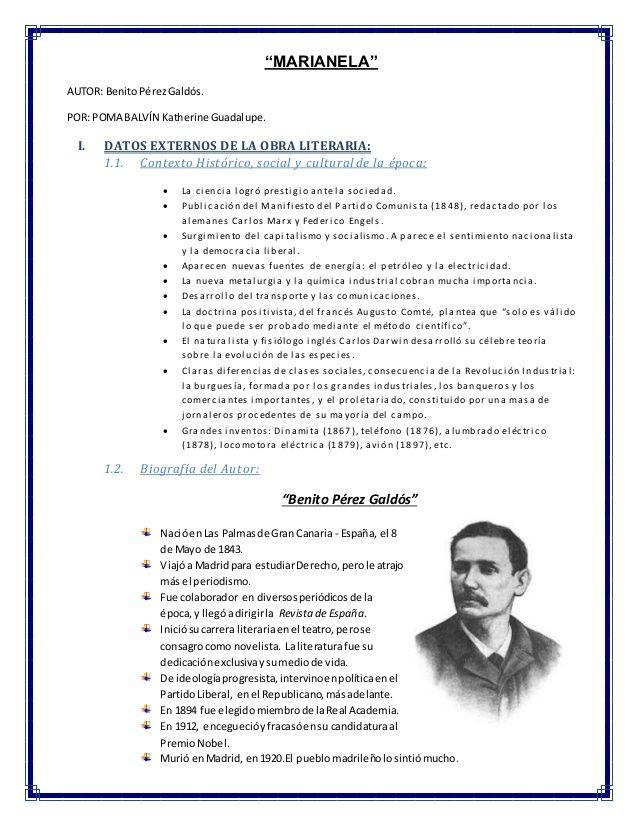 Analisis Literario De Marianela Benito Perez Galdos Novelista La Fontana El Amor