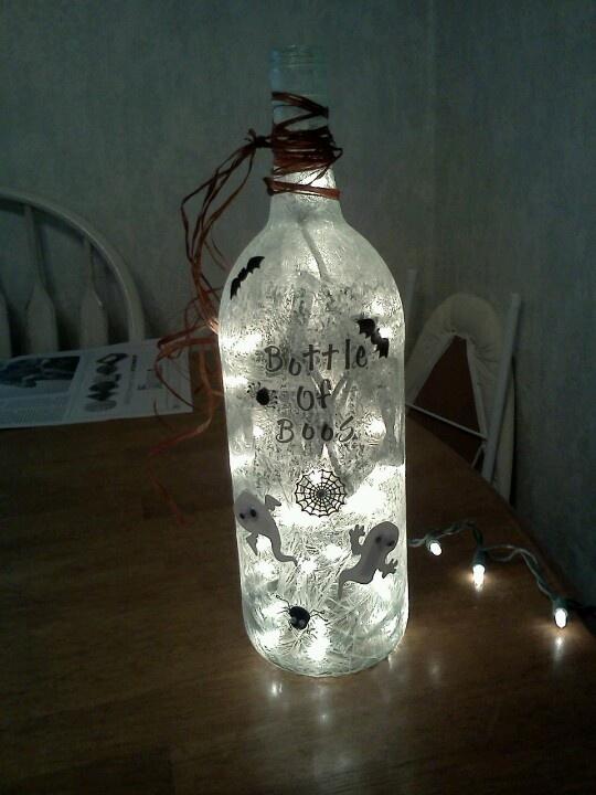 Halloween wine bottle lamp holiday ideas pinterest for Wine bottle light ideas