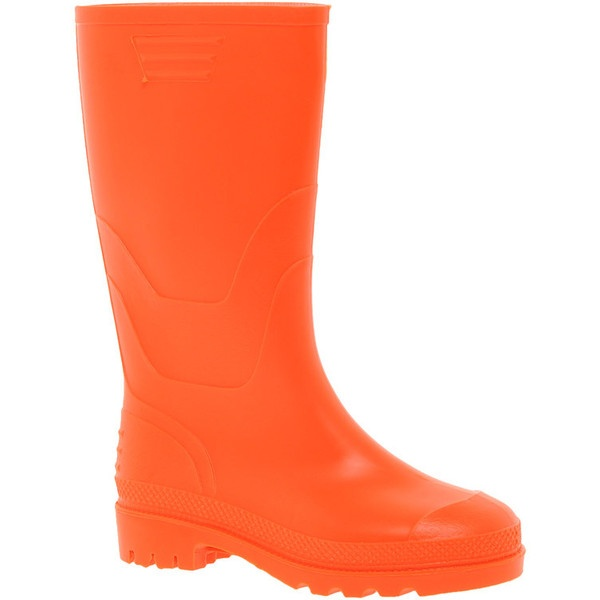 Juju Orange Wellington Boots ($42) ❤ liked on Polyvore