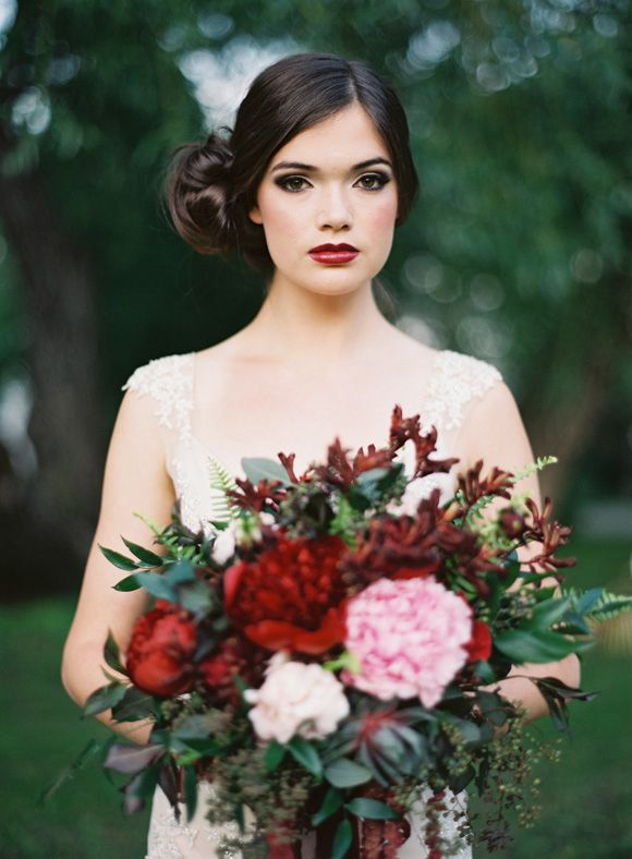 I love the bold lipstick with the marsala bouquet. Very nice.
