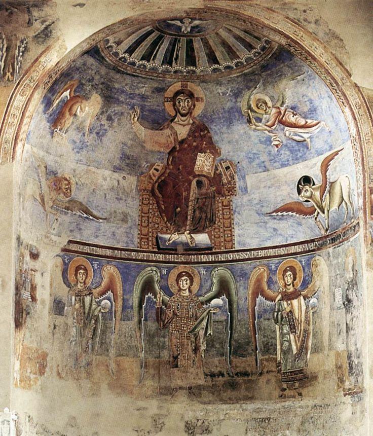 ROMANESQUE PAINTER, Italian Christ in Majesty c. 1080 Fresco Sant'Angelo in Formis, Capua