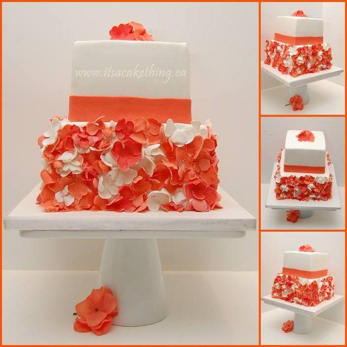 Cake with Flowers for Sarah - by itsacakething @ CakesDecor.com - cake decorating website #confirmation #communion #cake #birthday #flowers #coral #white #itsacakething