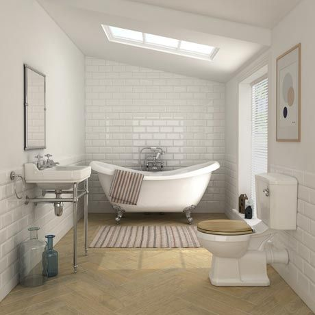 Keswick Traditional Roll Top Bath Suite (1750mm) - 2 Tap Hole Basin