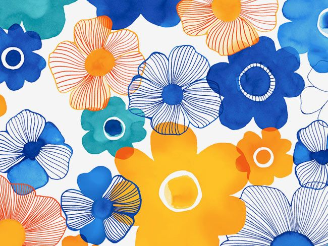 Margaret Berg Art: Petal: Blue & Yellow