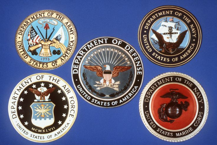Official seals for the Department of Defense, Department of the Navy, U.S. Marine Corps, Department of the Air Force and the official plaque for the Department of the Army, 02/10/1986. Item From Records of the Office of the Secretary of Defense. (1994-)