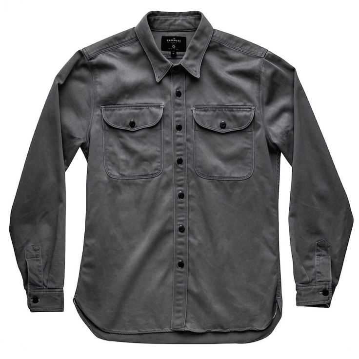 """Freenote Cloth Utility Shirt - Grey   $220   Japanese fine twill, 100% cotton, Oversized utility pocket, 1/8"""" double need details. Made in USA menswear."""
