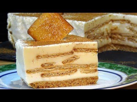 (6) Tarta de leche merengada con galletas de canela, fácil y sin horno - Recetas de cocina - YouTube