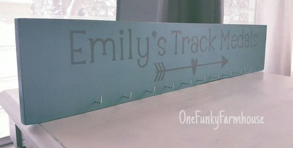 Personalized Wood Name Sign Hang Medals by OneFunkyFarmhouse