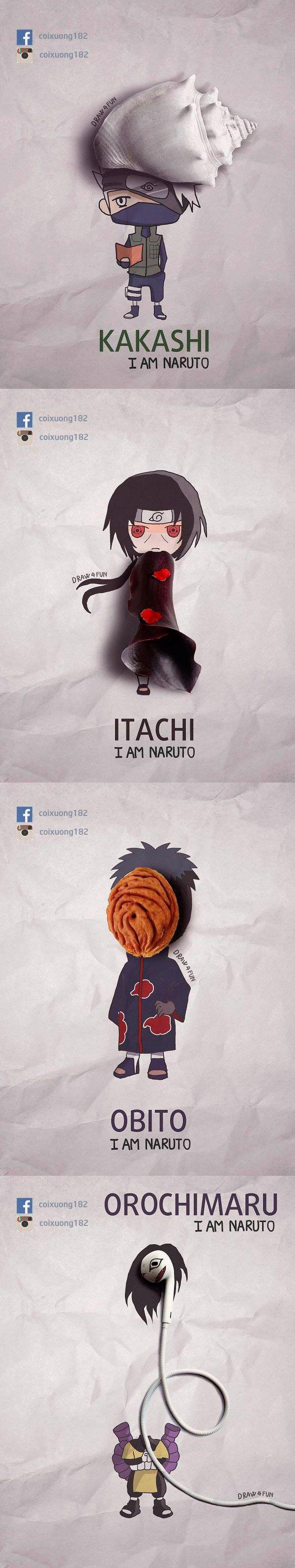 Nguyen Quang Huy usa objetos do dia a dia para recriar personagens do Naruto com um tom caricato e muito criativo!