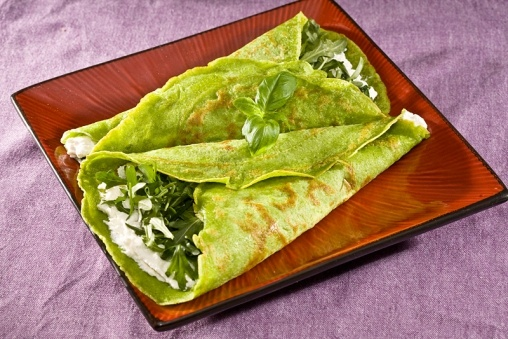 Pancakes with rucola