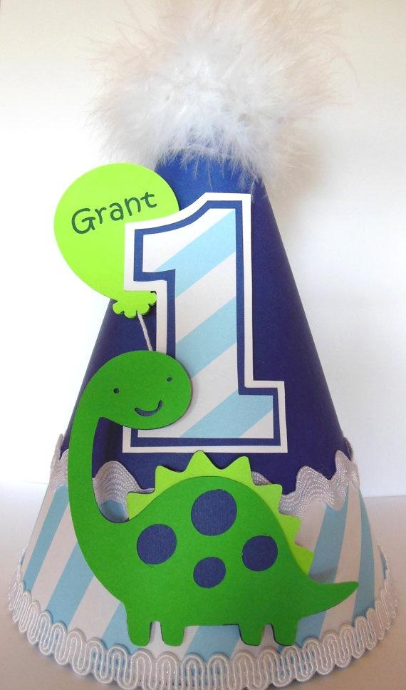 Blue Striped Dinosaur Birthday Party Hat  by SandysSpecialtyShop, $15.50