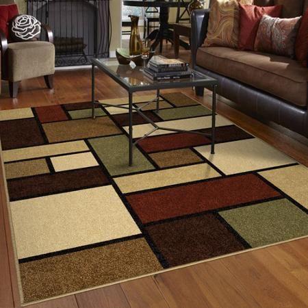 Orian Geo Box Area Rug, Multi Color, ...