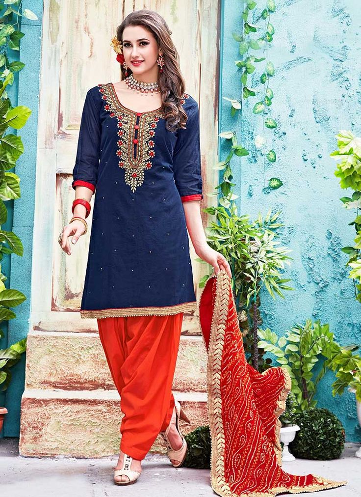 Buy Blue Chanderi Cotton Salwar Suit online from the wide collection of salwar-suit.  This Blue colored salwar-suit in Blended Cotton fabric goes well with any occasion. Shop online Designer salwar-suit from cbazaar at the lowest price.