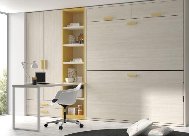 Kids Touch 73 Abatibles Juvenil Camas Abatibles: Habitación con dos camas abatibles en litera, armario, estantería y escritorio.