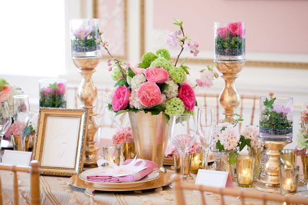 mariage rose et dore