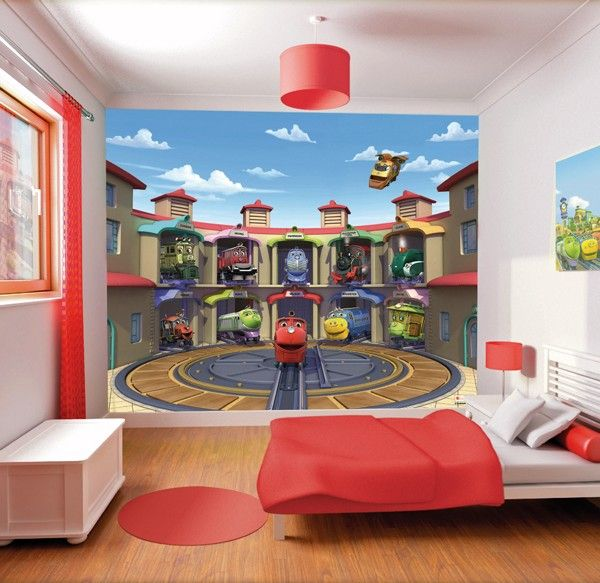 Chuggington boys wallpaper murals for kids bedroom http for Boys mural wallpaper
