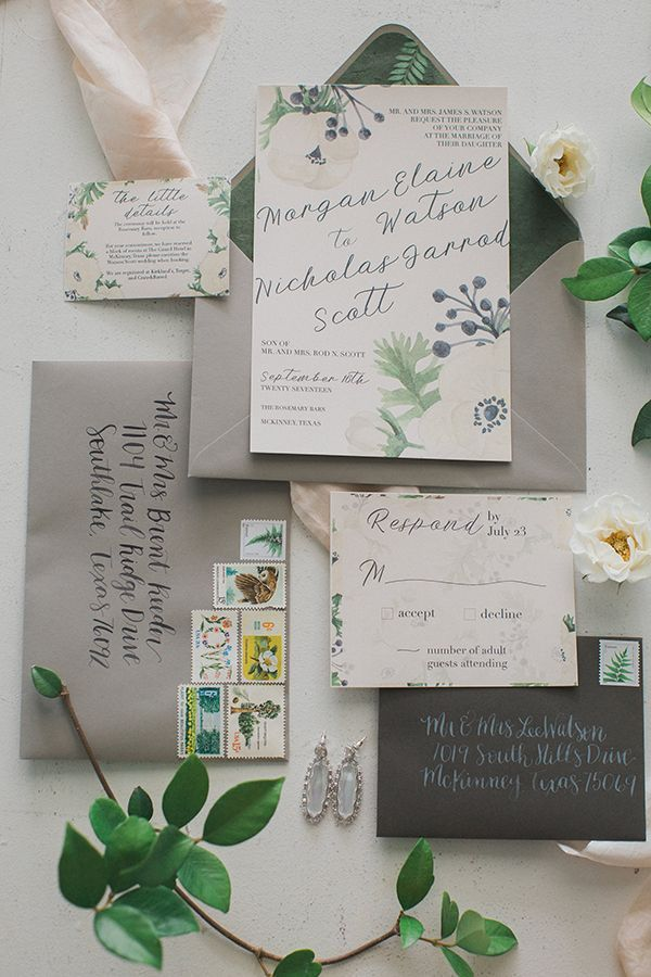 navy blue and kelly green wedding invitations%0A Floral invitation suite with calligraphed charcoal and gray envelopes